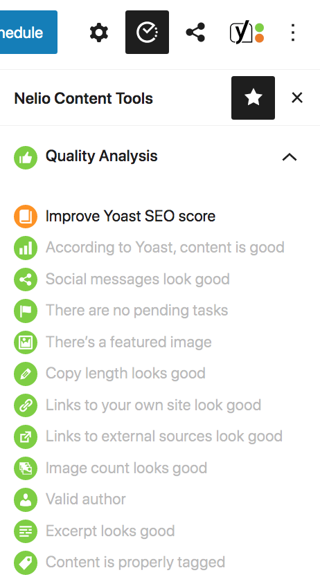 Nelio Content integrates the Yoast SEO plugin indicators into its quality analysis.