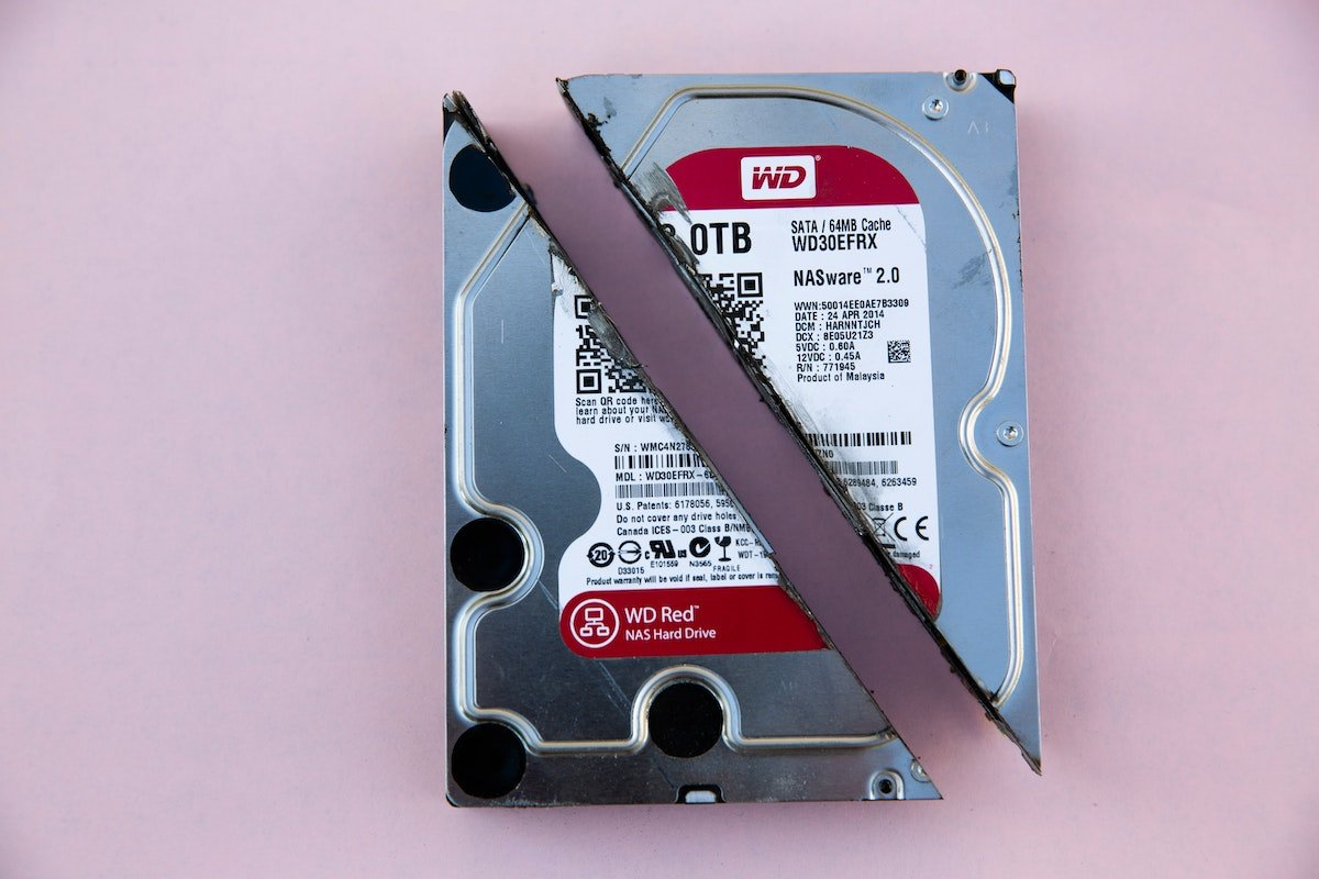 Picture of a hard drive cut in half