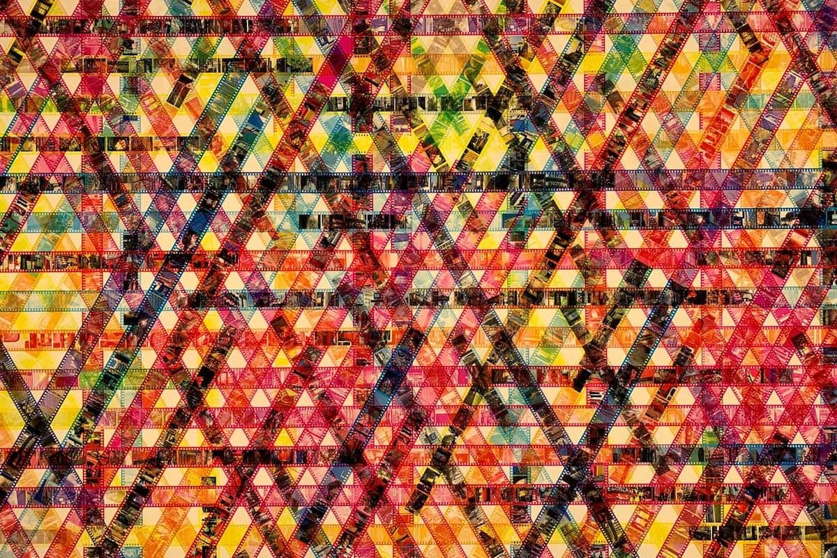 Picture by John Cameron of several movie films arranged in an abstract pattern