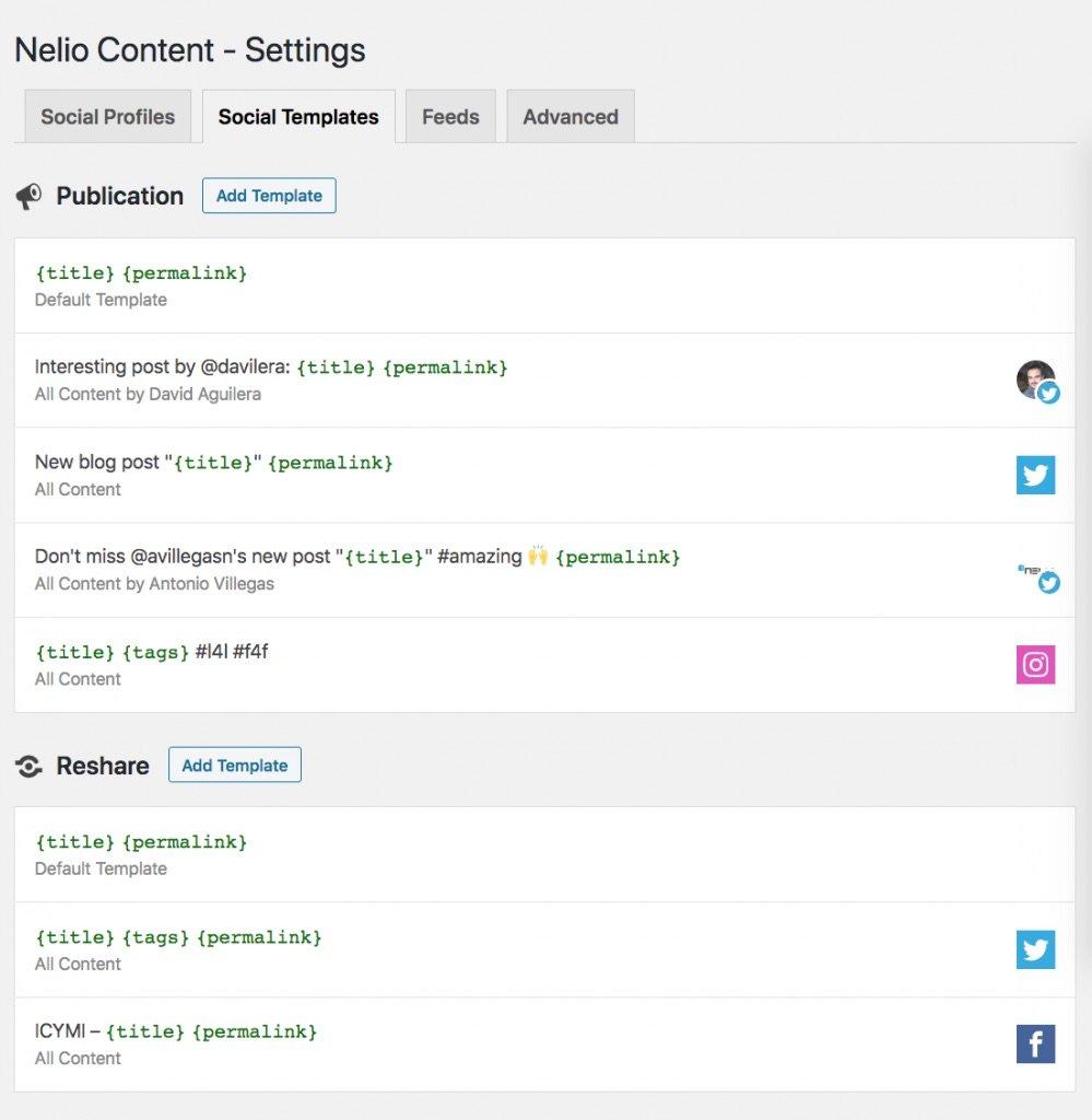 Social templates Nelio Content settings.
