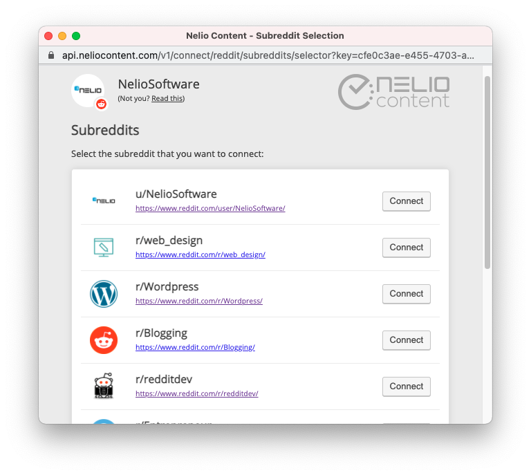 List of subreddits from Reddit that you can connect to Nelio Content.