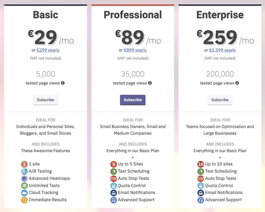 Nelio A/B Testing Premium plans and prices