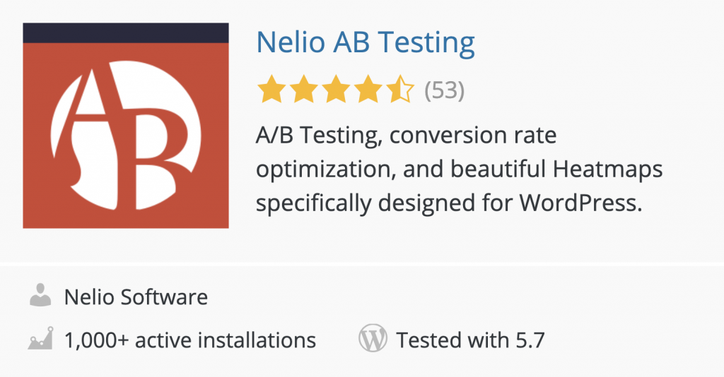 Nelio A/B Testing in the WordPress Plugin Directory