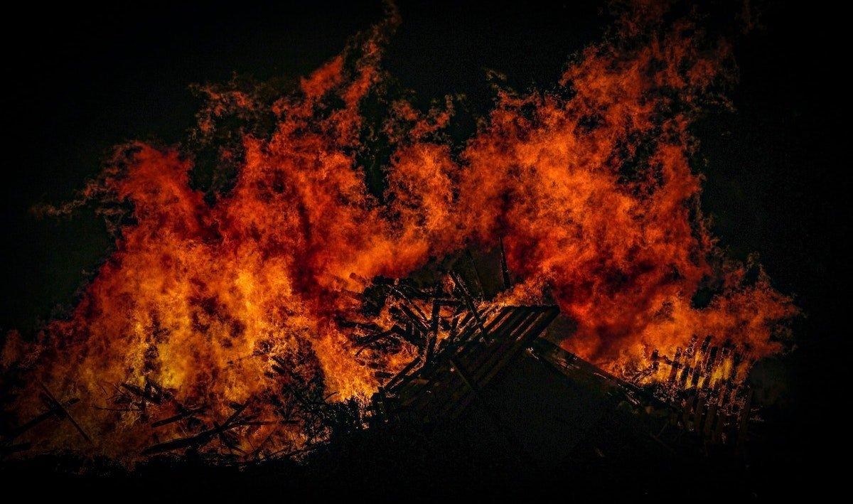 Photo of a large bonfire burning
