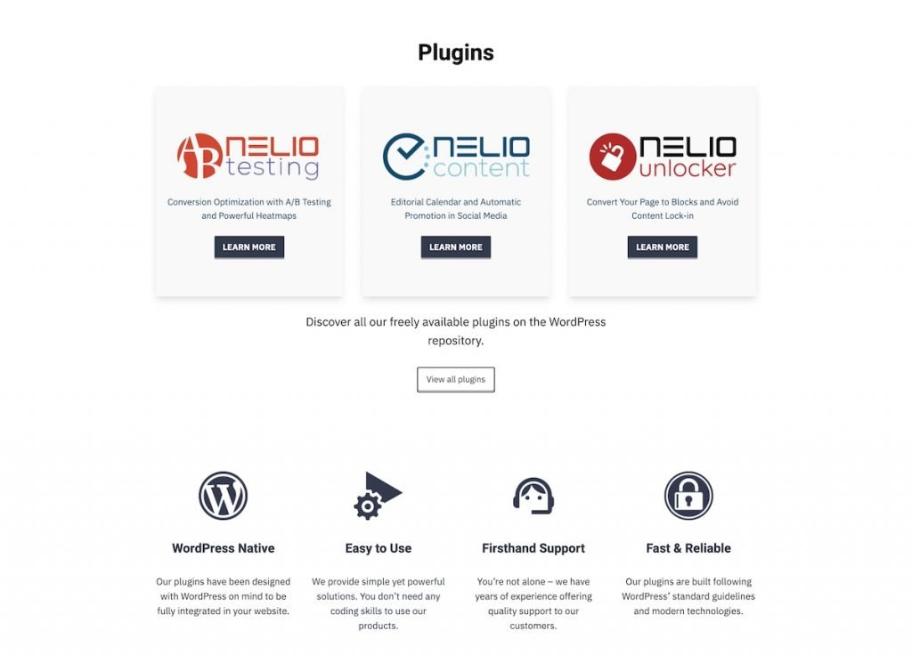 Partial screenshot of the landing page of Nelio's website in English 2