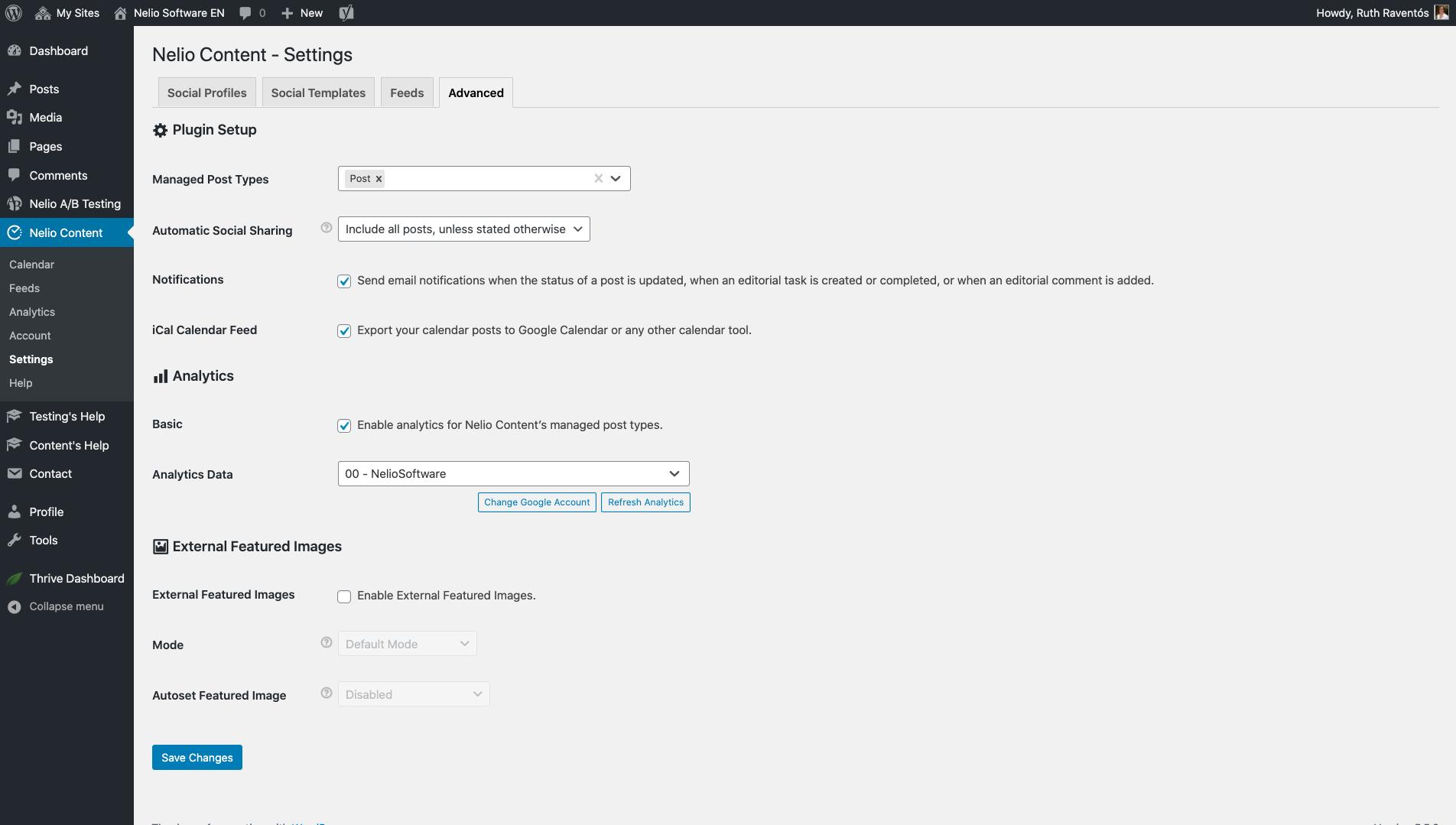 Advanced settings of Nelio Content.