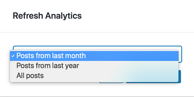 Dialog to update analytics in Nelio Content settings where you can select the set of contents to update.