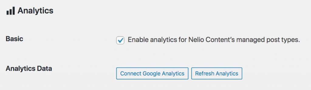 Analytics settings in Nelio Content.