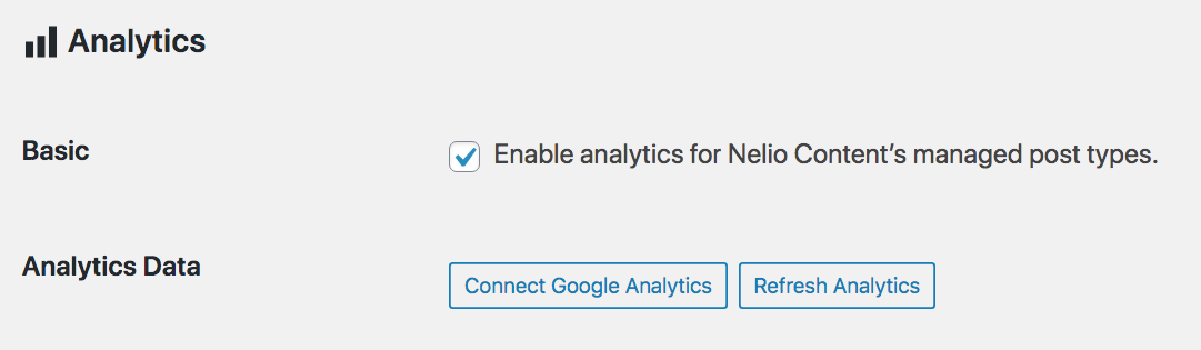 Analytics settings in Nelio Content.