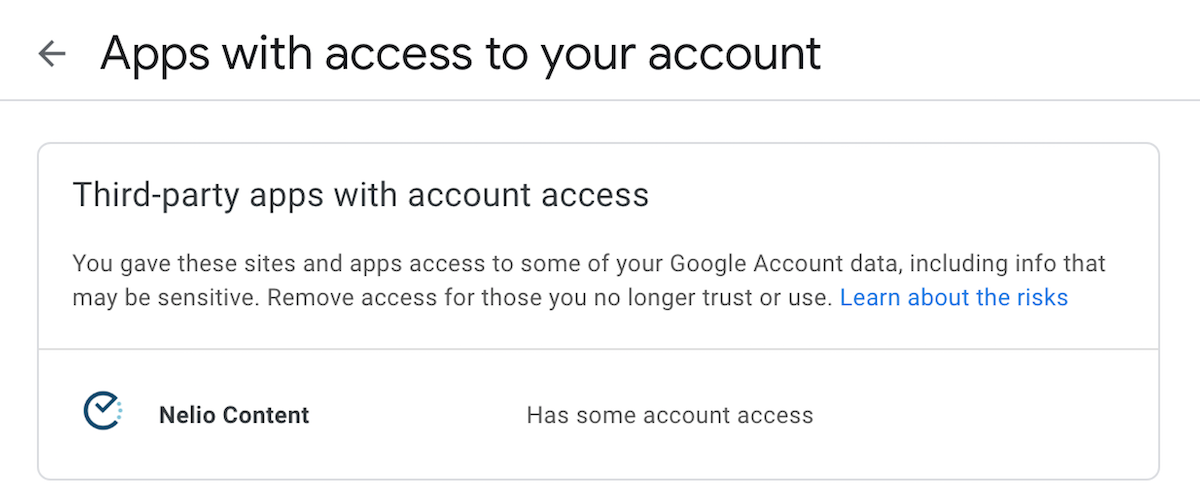 Third party applications with access to the Google account.