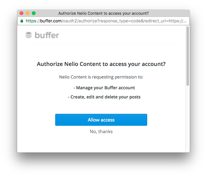 Authorize Nelio Content to publish on your Buffer account