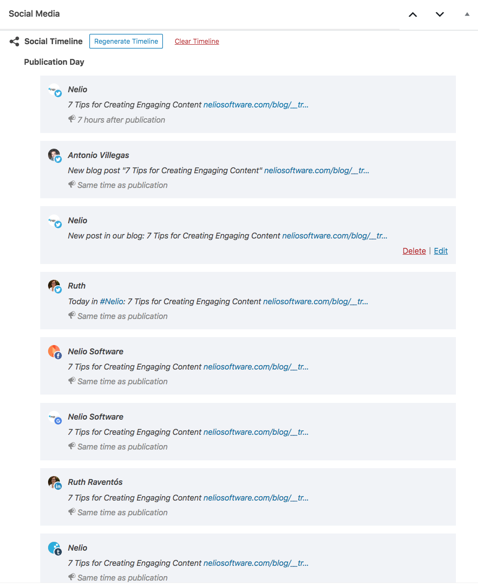 Social Timeline combining automatic and manual messages