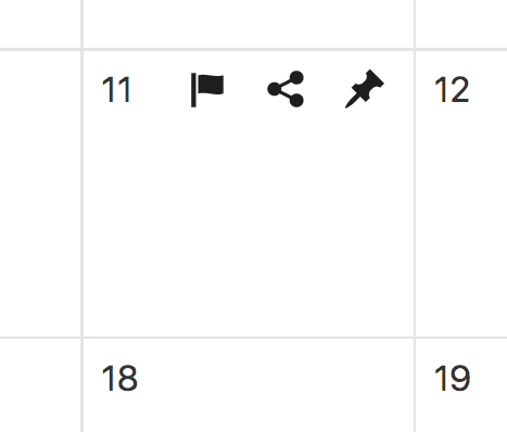 Screenshot showing the available actions for a particular day in the editorial calendar. If you put the mouse over the + symbol, actions to (a) create new entries, (b) adding social messages, and (c) create new tasks will appear.