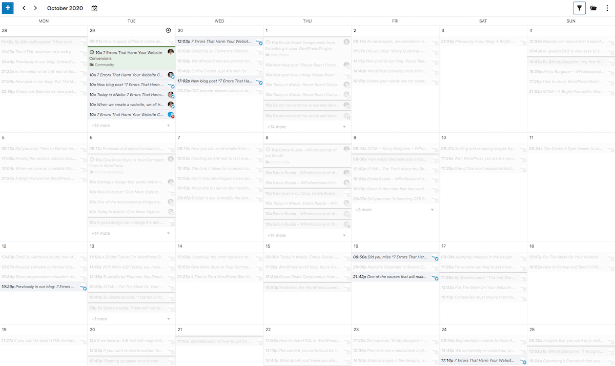 The Editorial Calendar Highlights Related Elements
