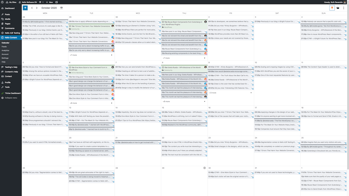 Overview of the Editorial Calendar