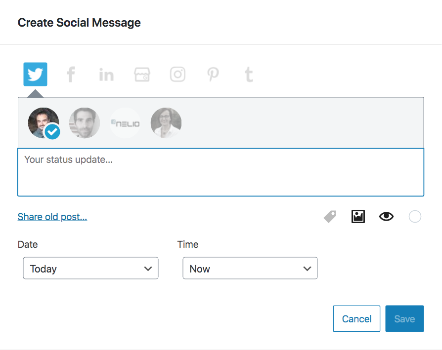 Dialog to create new social messages from the editorial calendar with Nelio Content.