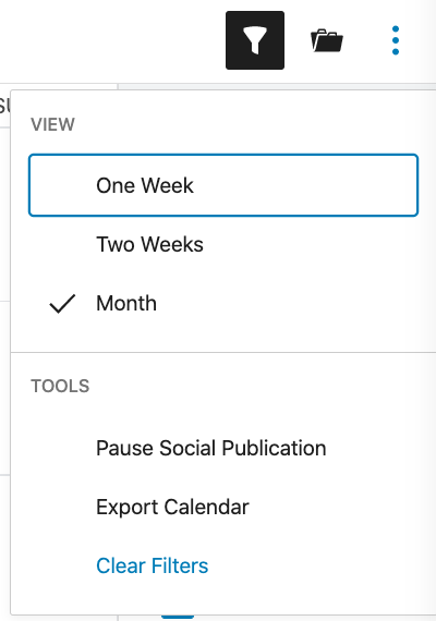 Clear filters on the editorial calendar.