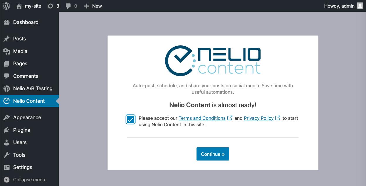 Initial settings of Nelio Content