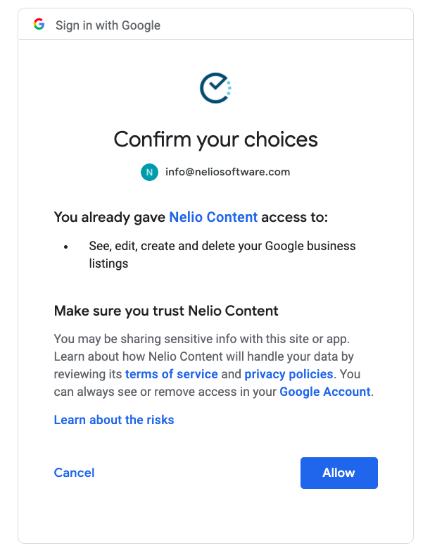 Consent screen to connect your Google My Business location.