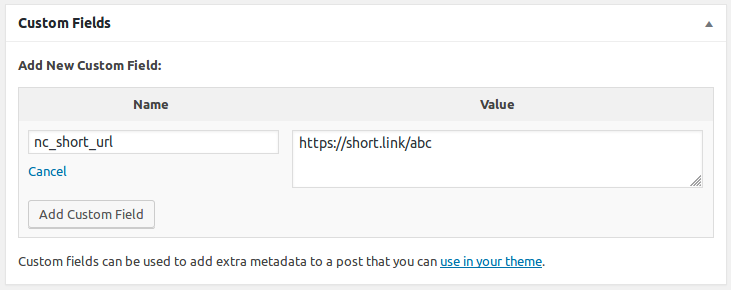 Custom field for defining the proper short link of the post.