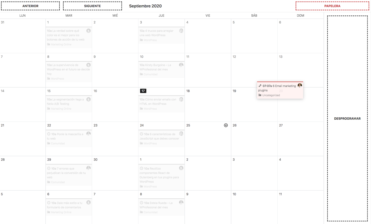 Screenshot of the editorial calendar showing how to move an entry to a desired date.