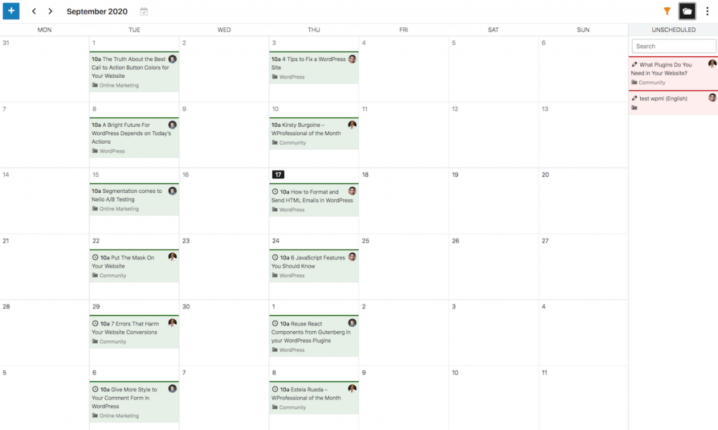 Editorial Calendar with Unscheduled Posts