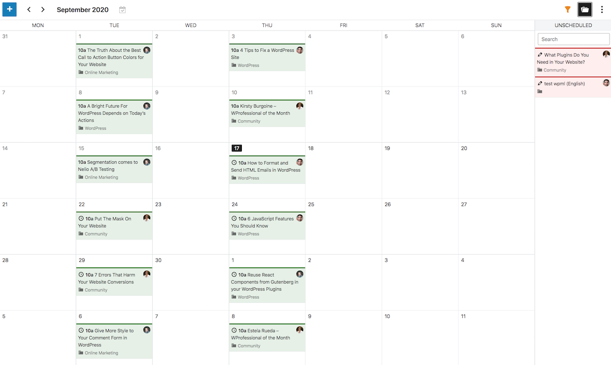 Editorial calendar with unscheduled posts.