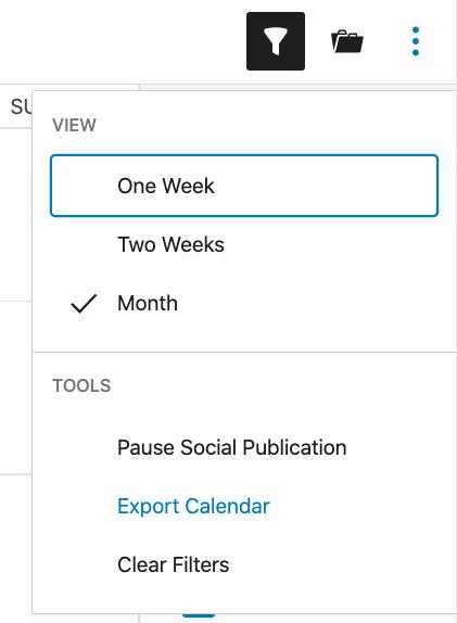 Export calendar under Nelio Content Tools tab.