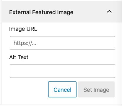 Adding an external featured image.