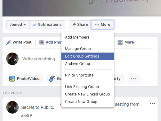 Go to Edit Group Settings to be able to install Nelio Content on your group in Facebook.