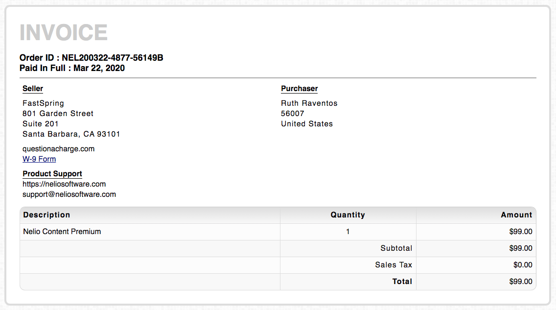 Example of FastSpring VAT exemption invoice.