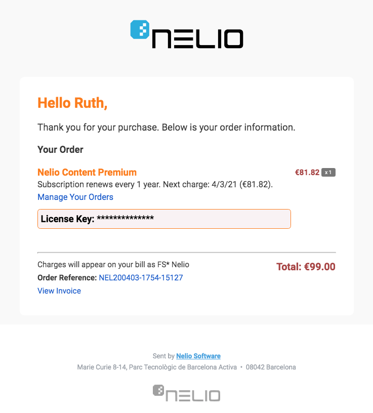 Notification confirming the subscription to Nelio Content.
