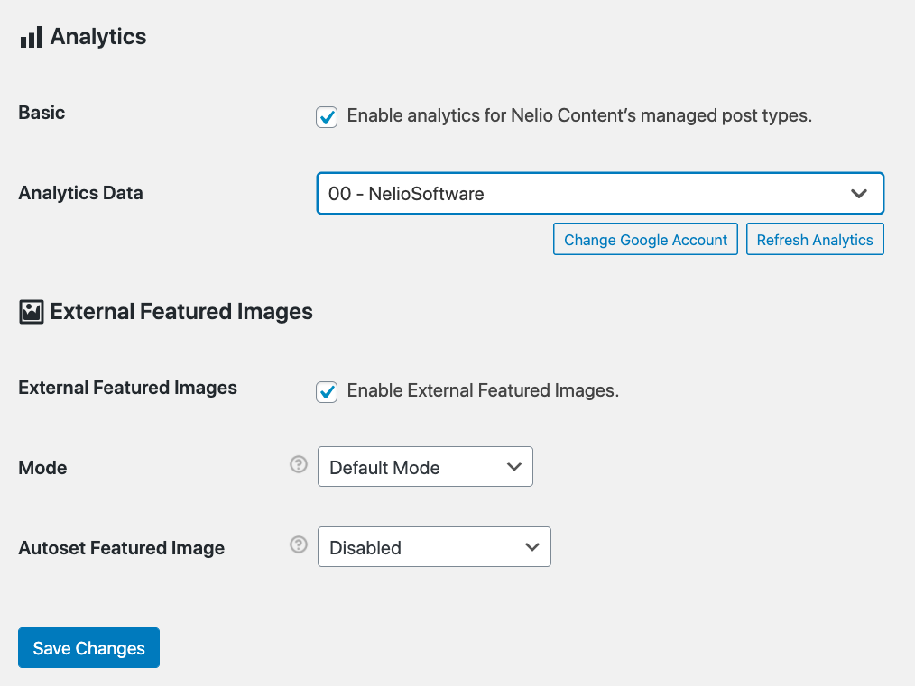 Google Analytics view selected in the Nelio Content analytics settings.