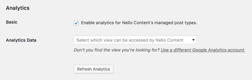 Nelio Content gets the list of Google Analytics views from your account and lets you select from which view you want to retrieve the data that Nelio Content needs to compute analytics.
