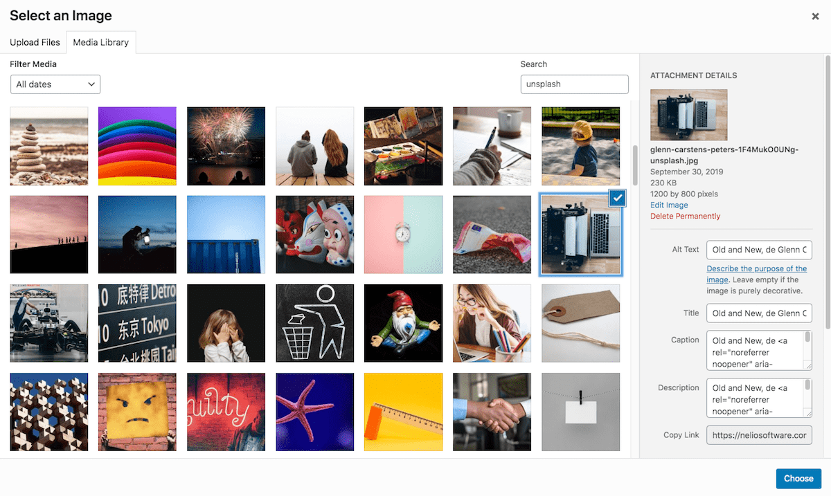 Dialog for Selecting Images