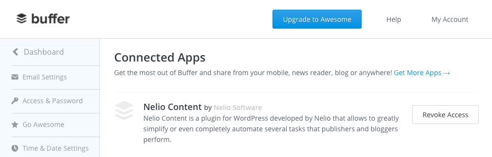 List of apps authorized to access Buffer