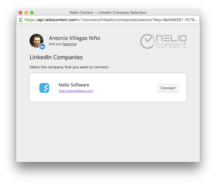 List of companies on LinkedIn you can connect to Nelio Content.