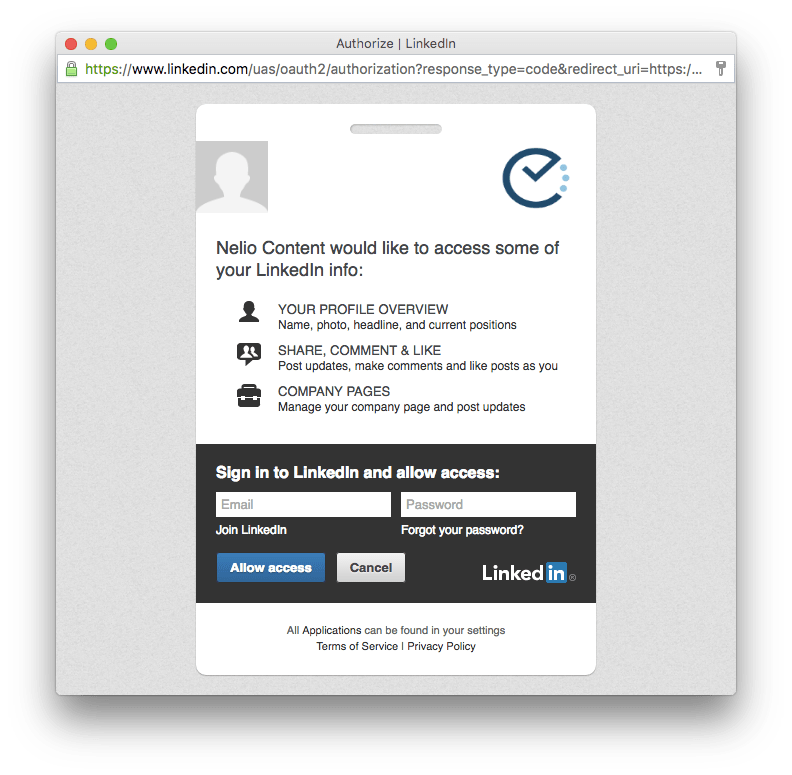 Requesting authorization to use LinkedIn
