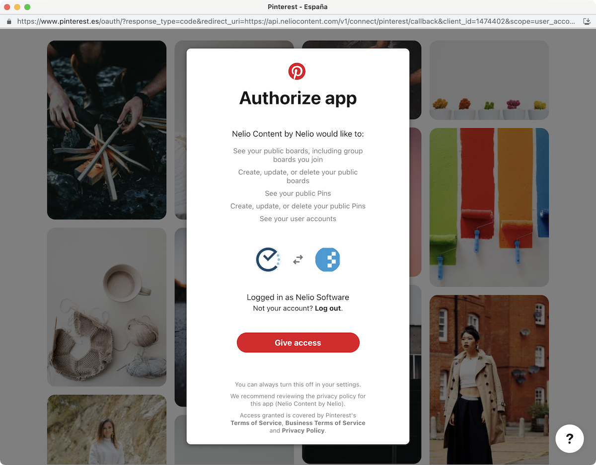 Authorization to allow Nelio Content to use your Pinterest social profile.