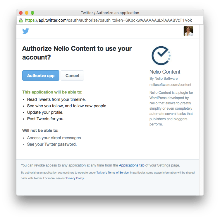Allow Nelio Content to use your Twitter social profile.