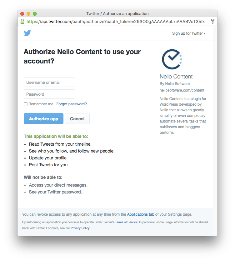 Authorization to Nelio Content the Twitter profile you indicate.