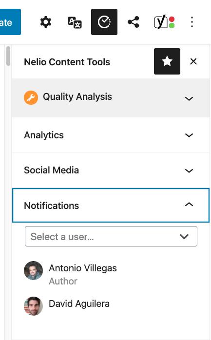Notifications in Nelio Content tools.