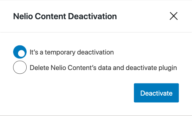 Plugin Deactivation Dialog