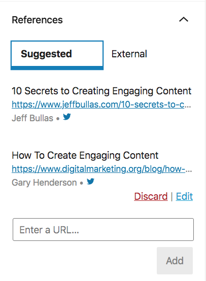 Links box where we can find the author can see the suggested references to add them into the post content.