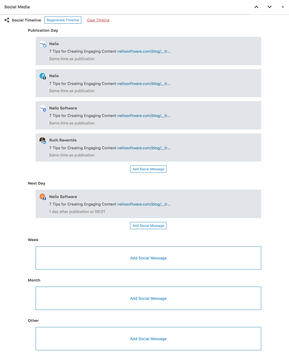 Timeline of Scheduled Social Messages