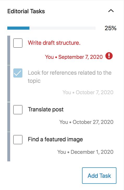 Editorial Task List