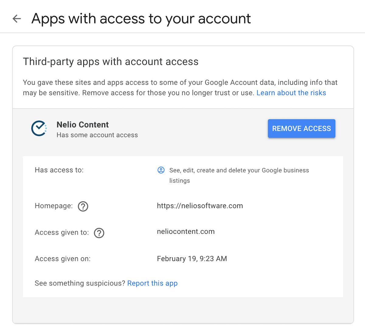 Remove Nelio Content access to Google Account.