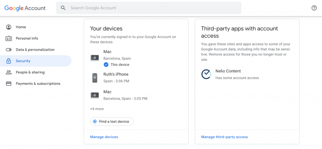 Security settings in a Google account.
