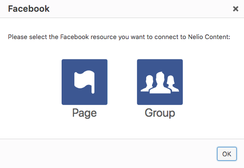Dialog where you can select if you want to connect a Facebook page or a Facebook group on Nelio Content.