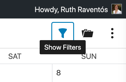 Show filters on the editorial calendar.